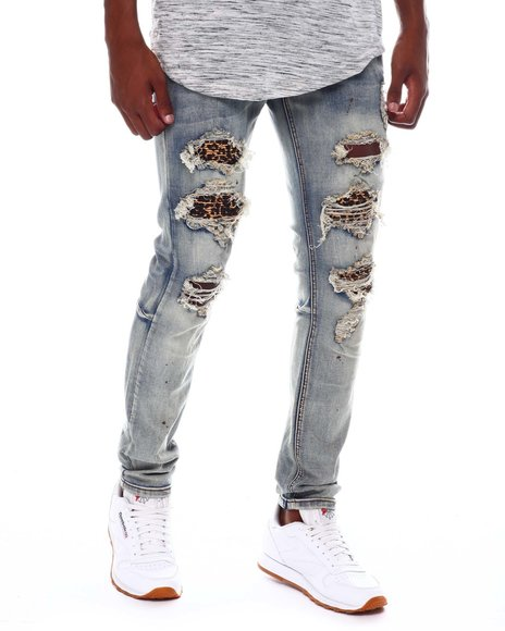 KDNK - Leopard Pintuck Patched Jean