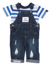Sets - 2 Pc Denim Overall & Striped Tee Set (Infant)-2528931