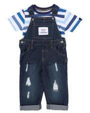 Sets - 2 Pc Denim Overall & Striped Tee Set (2T-4T)-2528935