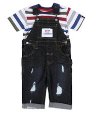 Sets - 2 Pc Denim Overall & Striped Tee Set (Infant)-2528939