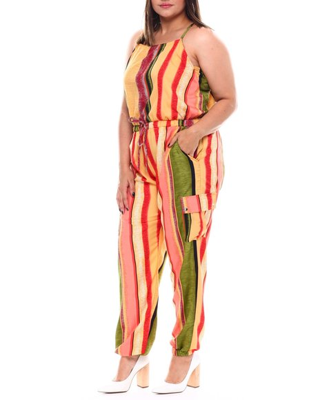 Fashion Lab - Plus Jogger Leg Jumpsuit With Functional Cargo Pockets Drawstring Ties At Waist
