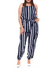 Plus Size - Plus Jogger Leg Jumpsuit With Functional Cargo Pockets Drawstring Ties At Waist-2517440