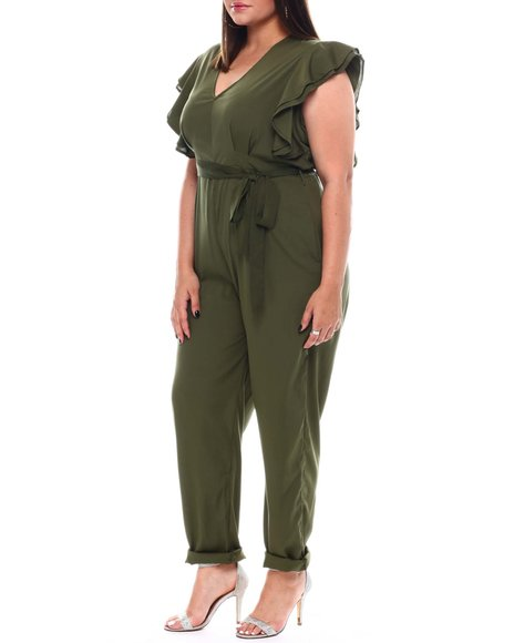 Fashion Lab - Plus Straight Leg Full Length Jumpsuit  Self Belt