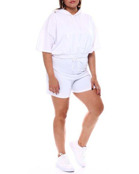Fashion Lab - S/S Banded Bottom Hoodie & Short Set(Plus)