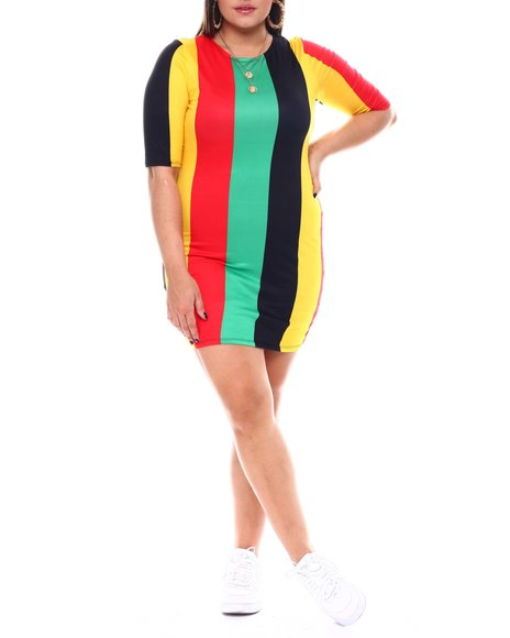 Fashion Lab - 3/4 Sleeve Stripe Bodycon Dress(Plus)