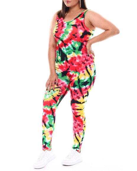 Fashion Lab - Tie Dye Tank Jumpsuit(Plus)