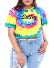Fall-Winter - Rainbow Tie Dye Sassy Sublimation S/S Crop(Plus)-2531592