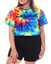 Fashion Lab - Black Magic Subimation Tie Dye S/S Crop(Plus)-2531596