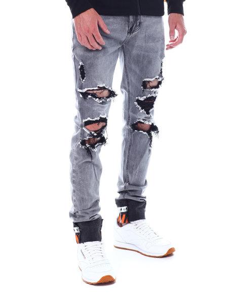 KDNK - Distressed Jean w Roll up Detail