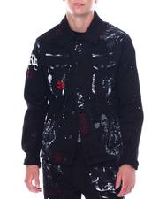 DJPremium - Skull and Bones Distressed Denim Jacket-2531080