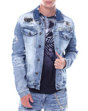 SMOKE RISE - Stud Rocker Distressed Denim Jacket-2531034