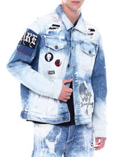 SMOKE RISE - Skull and Bones Distressed Denim Jacket-2531062