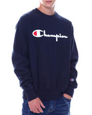Sweatshirts & Sweaters - Embroidered Script Crewneck Reverse Weave Sweatshirt-2530737