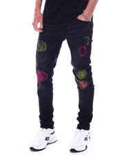 KDNK - RIP & REPAIR SKINNY JEANS WITH NEON STITCHING-2531271