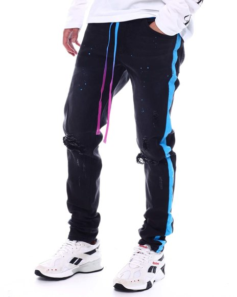 KDNK - PAINT STRIPED JEANS WITH TIE DYE MATCHING DRAWSTRING