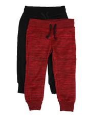 Arcade Styles - 2 Pack Marled & Solid Fleece Jogger Pants (2T-4T)-2529603