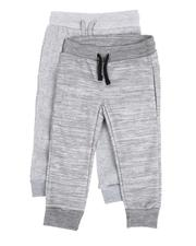 Arcade Styles - 2 Pack Marled & Solid Fleece Jogger Pants (2T-4T)-2530063