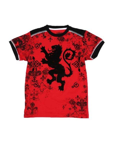 Arcade Styles - Lion Graphic Contrast Shoulder Trim T-Shirt (8-20)