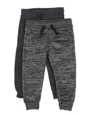 Arcade Styles - 2 Pack Marled & Solid Fleece Jogger Pants (2T-4T)-2531795