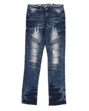 Arcade Styles - Rip & Repair Stretch Denim Moto Jeans (8-18)-2532528