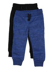 Arcade Styles - 2 Pack Marled & Solid Fleece Jogger Pants (2T-4T)-2529872