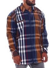 Big & Tall - Multi Color Plaid Long Sleeve Woven Shirt (B&T)-2534915