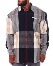 Big & Tall - Multi Color Plaid Long Sleeve Woven Shirt (B&T)-2534958