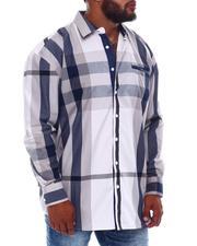 Big & Tall - Multi Color Plaid Long Sleeve Woven Shirt (B&T)-2534963