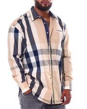Big & Tall - Multi Color Plaid Long Sleeve Woven Shirt (B&T)-2534933
