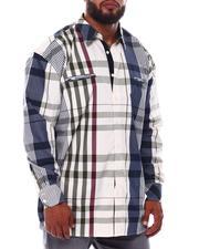 Big & Tall - Multi Color Plaid Long Sleeve Woven Shirt (B&T)-2534938