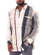 Big & Tall - Multi Color Plaid Long Sleeve Woven Shirt (B&T)-2534943