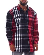 Big & Tall - Multi Color Plaid Long Sleeve Woven Shirt (B&T)-2534948