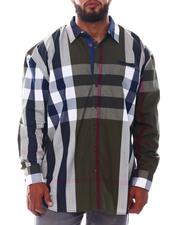 Big & Tall - Multi Color Plaid Long Sleeve Woven Shirt (B&T)-2534953