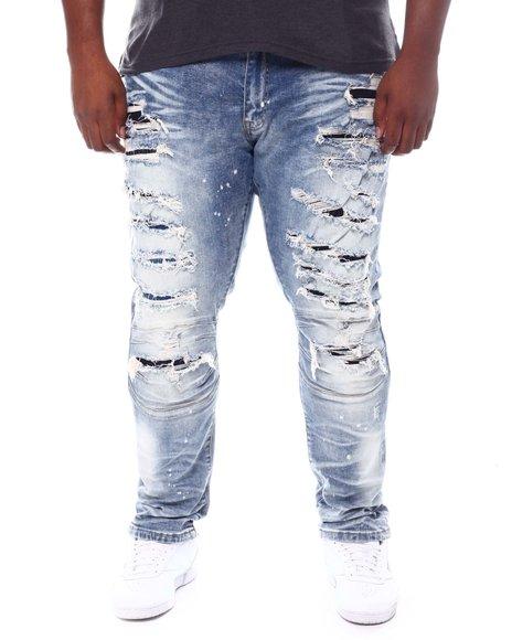 SMOKE RISE - Distressed Moto Knee Jeans (B&T)