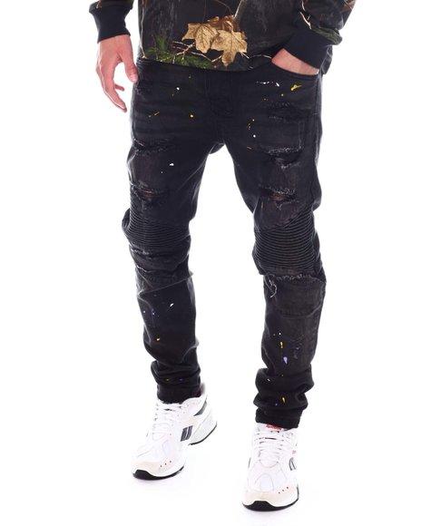 KDNK - Ripped Moto Jeans w Paint Splatter