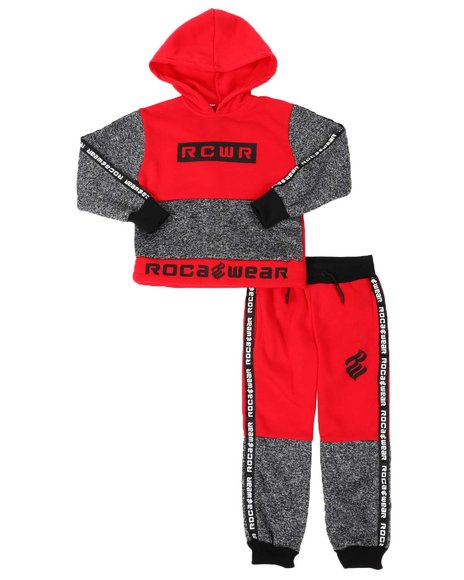 Rocawear - Color Block Taped Side Pullover Hoodie & Jogger Pants Set (4-7)