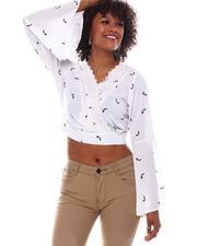 Fashion Lab - Long Sleeve Shoe Prin Crochet Neck Tie Back Blouse-2537673