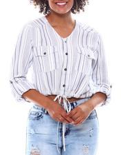 Fashion Lab - V-Neck Drawstring Tie Button Down Blouse-2537653
