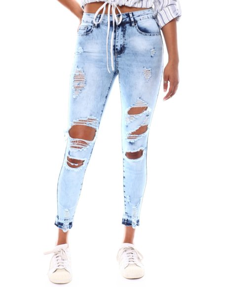 Fashion Lab - Destructed Roll Cuff Raw Hem Skinny Jean