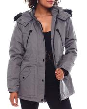 Fashion Lab - Hooded Coat W/Chest Pockets & Bottom Zipper & patch Pockets-2537801