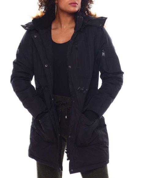 Fashion Lab - Hooded Padded Coat W/ Zipper Chest Pockets & Bottom Patch Pockets