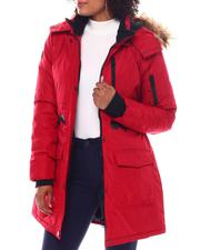 Fashion Lab - Hooded Padded Coat W/ Zipper Chest Pockets & Bottom Patch Pockets-2537816