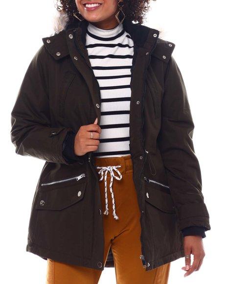 Fashion Lab - Hooded Coat W/Chest Pockets & Bottom Zipper & patch Pockets