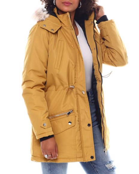 Fashion Lab - Hooded Coat W/Chest Pockets & Bottom Zipper & patch Pockets