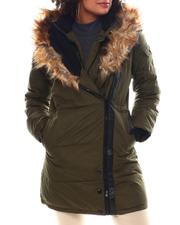 Women - Puffer Jacket W/Asymmetrical Zip And Faux Fur Trim Hood-2537781