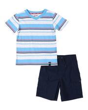Boys - 2 Pc Striped V- Neck Tee & Shorts Set (4-7)-2535778