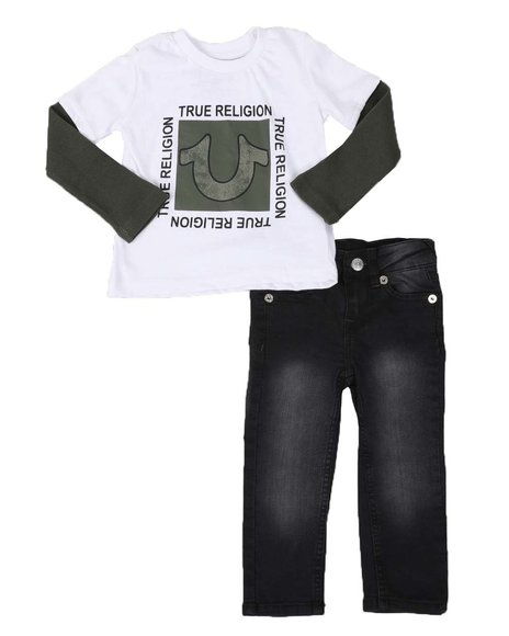 True Religion - 2 Pc Square Logo Thermal Shirt & Jeans Set (2T-4T)
