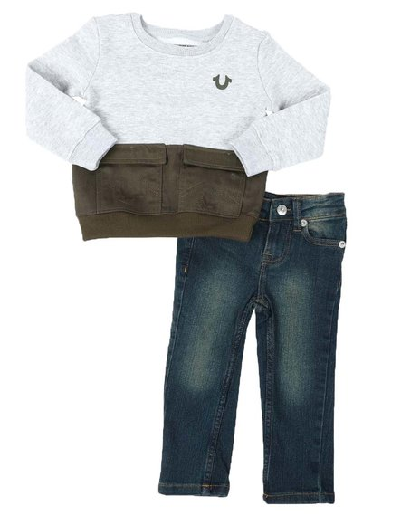 True Religion - 2 Pc Buddha Cargo Pullover & Jeans Set (2T-4T)