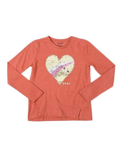 DKNY Jeans - Flip Sequin Heart Long Sleeve Tee (7-16)