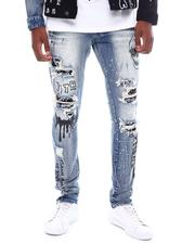 SMOKE RISE - Distressed Paint Drip Jean-2539413